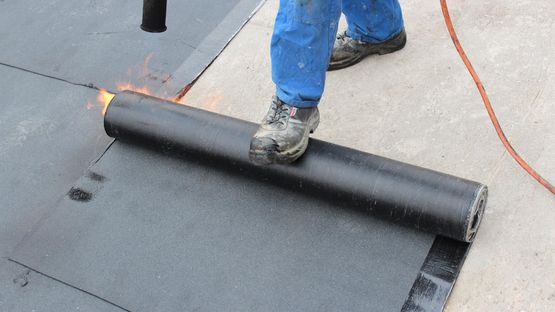 A flat roof being completed by our professionals